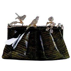 Valentino bird clutch in black Crocodile, Tiffany Green, Vogue Wedding, Summer Handbags, Evening Bags, Evening Clutches, Big Fat Indian Wedding, Frame Bag, Lulu Guinness