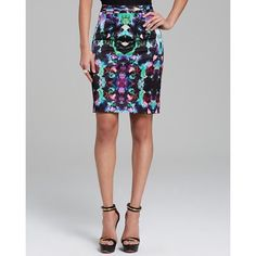 Milly Green Pencil Skirt Orchid Bright kaleidoscope Italian orchid skirt. All over pattern, fitted silhouette, concealed back zip, slit at back hem, lined Milly Skirts Pencil