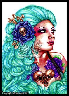 DeviantArt: More Like bubbled dreads by megoboom Framed Prints, Canvas Prints, Art Prints, Ballpoint Pen Art, Skull And Bones, Day Of The Dead, Blue Hair, Character Inspiration, Princess Zelda