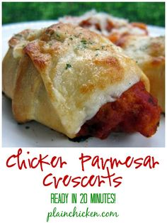 Chicken Parmesan Crescents Recipe - frozen chicken tenders, spaghetti sauce, mozzarella baked in refrigerated crescent rolls - Ready in 20 minutes! Super quick lunch or dinner.