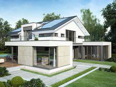 Bauhaus Architektur mit Satteldach - Einfamilienhaus Concept-M 211 Bien Zenker - Fertighaus bauen moderner Anbau mit Flachdach bodentiefen Fenstern - HausbauDirekt.de