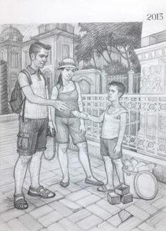 Karakalem Turistler ve su satan çocuk imgesel çizimi.
