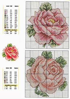 Grandissima raccolta di Schemi e grafici per Punto croce, gratis da scaricare : Schema punto croce- ricamo rose per ogni applicazione