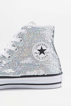pretty nice dc79b 26be9 Converse All Star Chuck Taylor Silver Sequin High-Top Trainers
