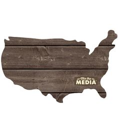 """Mix The Media Wooden Plank Plaque-USA 13.5""""X11.25"""" 