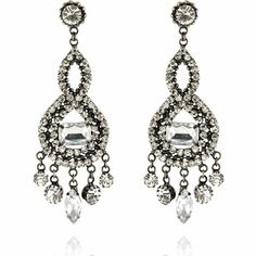 Sheena Earrings http://blossomboxjewelry.com/e1335.html #india #jewelry #fashion #bollywood #designer #earrings #crystal #silver