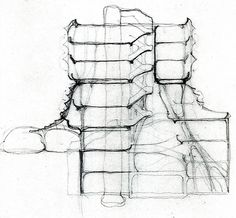 Testo alternativo Immagine Details from the pages of Domus 602, January 1980. Günther Domenig, with Emanuel Anders and Volker Giencke, Zentralsparkasse Bank, Vienna. The architect's first sketch contains all the subsequent design decisions in embryo. There are the main lines, which in the general field of forces delimit the autonomy of the relationships between details and the whole