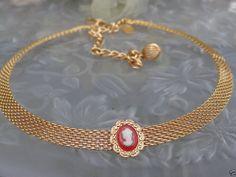 VTG DESIGNER SGD PARK LANE Victorian Revival Cameo Mesh Choker Necklace Jewelry
