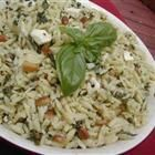 Orzo with spinach and feta - I serve it hot and toss in some cubed cooked chicken.  This is one of Vern's favorites.