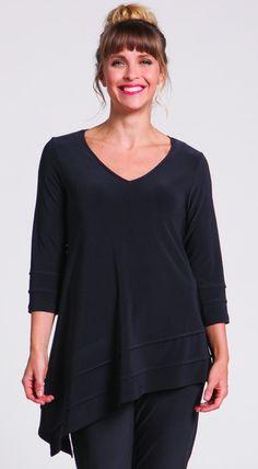 Sympli Black v-neck 3/4 sleeve asymmetrical Tunic - Asa-Metric Tunic