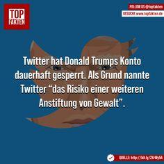 """Twitter hat Donald Trumps Konto dauerhaft gesperrt. Als Grund nannte Twitter """"das Risiko einer weiteren Anstiftung von Gewalt"""". #twitter #socialmedia #trump #donaldtrump #gewalt #fakten Donald Trump, Twitter, Movies, Movie Posters, Instagram, Donald Tramp, Films, Film Poster, Cinema"""