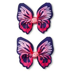 Girls' 2-Pack Butterfly Clips/barrette Pink One Size - Cherokee®