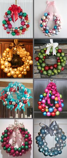 Super simple Christmas wreaths. 1 wire hanger, hot glue, ornaments and a ribbon!