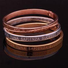 Bracelete oval de aço Francesca com dizeres