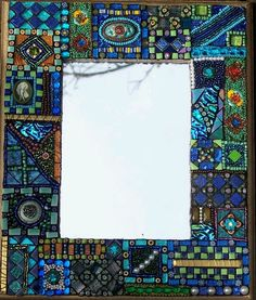 Laurel Skye Mosaics More Mosaic Tile Art, Mirror Mosaic, Mosaic Crafts, Mosaic Projects, Stained Glass Projects, Mosaic Glass, Glass Art, Mosaic Bathroom, Bathroom Mirrors