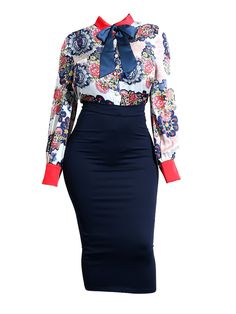 Color Block Print Bodycon Women's Skirt Suit