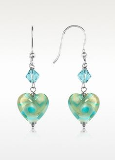 Vortice - Turquoise Swirling Murano Glass Heart Earrings - House of Murano