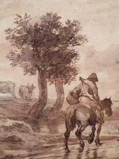 "OSTADE (van) Isaac,1644-49 - Paysage avec Voyageurs (drawing, dessin, disegno-Custodia) - Detail -n - TAGS/ details détail détails detalles ""dessins 17e"" ""17th-century drawings"" ""dessins hollandais"" ""Dutch drawings"" ""Dutch painters"" ""peintres hollandais"" Paris France Holland Hollande animal animaux animals man men hommes paysan dog pet chien Isaack tree trees nature arbres chevaux cheval horse traveller ox boeufs boeuf oxes agriculture countryside campagne landscape Isaack road chemin camino"