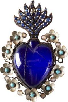 One Kings Lane - Destination: Mexico - Blue Glass Sacred Heart, C. 1910