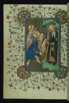 Book of Hours of Daniel Rym Sts. Christopher and Anthony Walters Manuscript W.166 fol. 160v by Walters Art Museum Illuminated Manuscripts