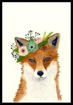 Watercolor fox, Woodland Nursery Art, Animal Paintings, Fox, Bear, Deer, Animal Wall Art, Childrens Wall Decor, Kids Art, fox painting