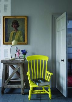 Wall colours of Farrow & Ball. And a neon yellow chair :) Decor, Farrow Ball, Grey Bedroom With Pop Of Color, Yellow Chair, New Paint Colors, Colorful Interiors, Painted Furniture, Home Decor, Farrow And Ball Paint