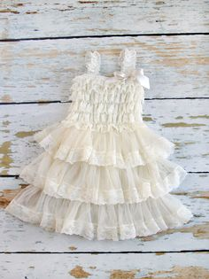 Flower Girl Dres Ivory lace Flower girl dress by PrimCoutureShop Rustic Flower Girls, Lace Flower Girls, Flower Girl Dresses, Lace Ruffle, Ruffle Dress, Little Dresses, Girls Dresses, Bridesmaid Flowers, Bridesmaids