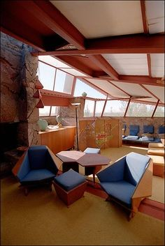Stock photography by spencer grant living room interior of fallingwater designed by architect Frank lloyd wright the rooms interiors and decorative arts