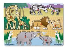 Your child will go wild matching the baby animals to their parents in this fun peg puzzle game! Melissa & Doug Safari Wooden Peg Kids Puzzle Pieces) - only Safari Animals, Baby Animals, Wild Animals, Puzzles For Toddlers, Safari Adventure, Dad Baby, Safari Theme, Melissa & Doug, Animal Books