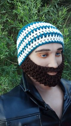Blue Green and White Striped Beard Beanie w/ by HolyNoggins, $35.00