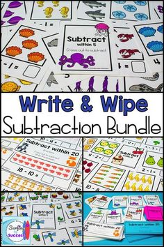 Looking for math centers for kindergarten or first grade? These Write and Wipe Subtraction Cards are great math activities. Just print and laminate and these write and wipe printables will be ready to use year round. Kindergarten math and first grade ma