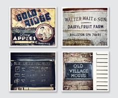 """Rustic Blue and Yellow Kitchen Photographs - Vintage Style Kitchen Decor - Apples, Fruit, Cheese, Village House Prints - Set of 4 Discounted 20% off. 4 unframed horizontal photographs perfect for a rustic or farmhouse kitchen. • Borderless fine art photographs with a soft luster finish. • Available in sizes 8x10 through 30x40 (Click """"Select Options"""" menu to choose). • Watermark does not appear on final photograph."""