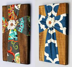 Fabric cross on wood. Wow those are beautiful. Think of the possibilities and you could do different sizes and different centers... add scripture to the wood!