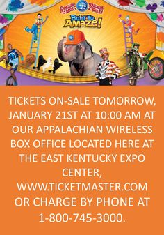 TICKETS ON-SALE TOMORROW, JANUARY 21ST AT 10:00 AM AT OUR APPALACHIAN WIRELESS BOX OFFICE LOCATED  HERE AT THE EAST KENTUCKY EXPO CENTER, WWW.TICKETMASTER.COM OR CHARGE BY PHONE AT 1-800-745-3000.