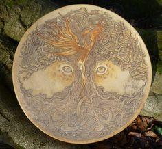 Handmade shamanic drum with custom artwork