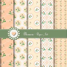 Peach Shabby Chic Roses - Digital Papers - Printables - Decoupage - Scrapboking - Downloads - DIY - Decor - Roses - Flowers