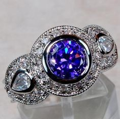 SPECTACULAR 3.25 CTW ART DECO AMETHYST & WHITE TOPAZ HALO RING~SOLID 925 SS~SZ. 8! WOW! LAST ONE!!