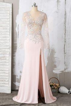 d5febb26fb blush sequin long sleeve v neck mermaid prom dress Best Prom Dresses