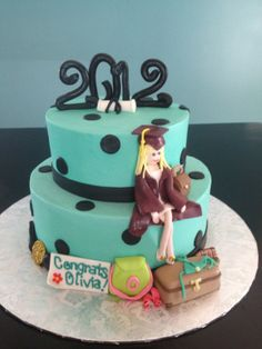 Graduation Cake for Fashionista - Graduate with all of her favs....  Iced in buttercream with fondant and gumpaste accents.