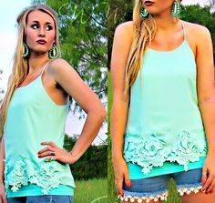 Beautiful tank featuring a dainty floral crochet trim. Racer back with strap detail.  Looks fabulous paired with white crops or your favorite pair of denim!!