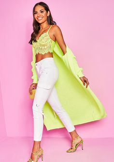 86486c0efd6 Missyempire - Addie Neon Yellow Longline Knit Cardigan Neon Yellow, Long A  Line, Knit
