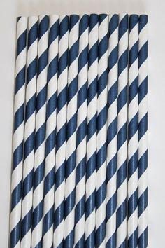 25 Navy Blue Striped Paper Straws birthday party by CupcakeExpress