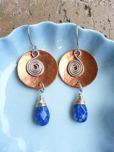 Copper Disc Earrings with Sterling Silver Spirals and Lapis Lazuli Teardrop Beads, Handmade Artisan Jewelry, Mixed Metal, Unique Earrings