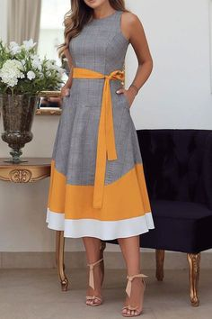 Sleeveless Patchwork Mid-Calf Western Color Block Womens Maxi Dress Online store for the latest fashion & trends in women's collection. Shop affordable ladies' Dresses, Clothing, Shoes & Accessories with top quality. Cheap Maxi Dresses, Casual Dresses, Fashion Dresses, Summer Dresses, Stylish Dresses, Fall Dresses, Cotton Dresses, Fashion Clothes, Vestidos Retro