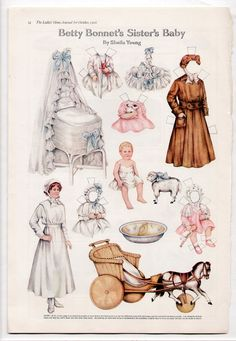 Vintage BETTY BONNET'S SISTER'S BABY Paper Dolls Page 1916 Sheila Young/uncut