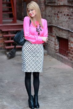 Hot Pink blouse, black/white skirt, black tights, black booties