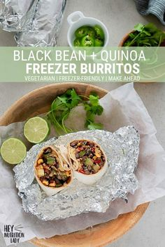 Black Bean and Quinoa Freezer Burritos! These make-ahead vegetarian burritos are super easy to make, loaded with beans and veggies, and are freezer-friendly. Perfect for healthy lunch on the go or planning for busy times. Vegetarian Freezer Meals, Freezer Friendly Meals, Tasty Vegetarian Recipes, Mexican Food Recipes, Healthy Recipes, Lunch Recipes, Freezer Burritos, Vegetarian Burrito, Vegetarian Mexican