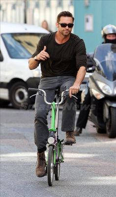 """""""how to be cool"""" - Be Hugh Jackman and ride a bike! :: #bike #bicycle #cyclechic"""