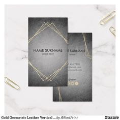 Gold #Geometric Unique #BlackLeather #SocialMedia #BusinessCardTemplate #editable & #customizable. For #LawFirm #LawOffice #CPA #DesignAgency #Branding #Corporate #Company #Decor #Fashion #Lifestyle #Consulting #BoutiqueStores #Consultant #Personal #Instructor, #Entrepreneur #OfficeVisitingCard #LuxuryPresentation #VerticalBusinessCard by AffordPrint @Zazzle #UniqueBusinessCards #GeometricBusinessCards #CustomizableBusinessCards