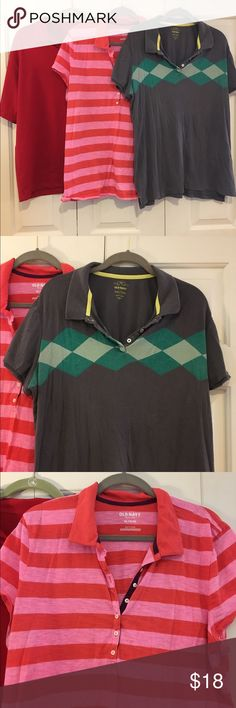 """3 Collared Shirts Red is Reebok """"Play Dry"""" XL.   Red and Pink striped shirt is Old Navy XL.  The grey one is also Old Navy XL.  Slight wear on the armpits of the two on the right Tops"""